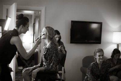 Mobile makeup artist from Beauty on Location Studio styling a Colorado bride