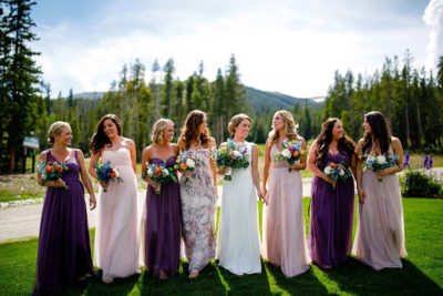 Colorado bride and bridesmaids with makeup and hair design by Beauty on Location Studio of Denver