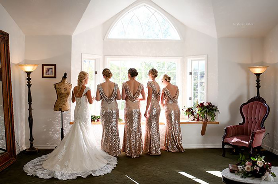 Colorado bride and her bridesmaids with hair design by Beauty on Location Studio of Denver