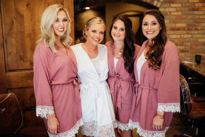 Colorado bride and her bridesmaids getting mobile beauty services by Beauty on Location Studio of Denver