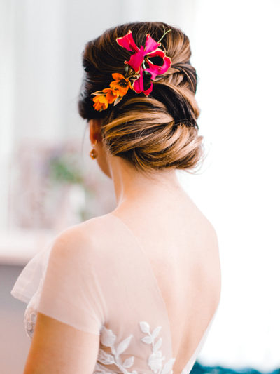 Colorado bride with floral updo bridal hairstyle by Beauty on Location Studio of Denver