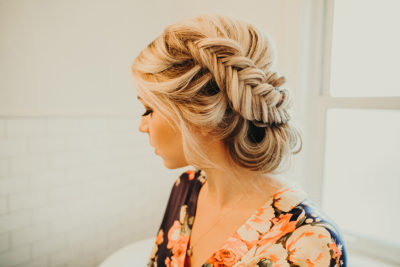 Colorado bride with fishtail braid updo bridal hairstyle by Beauty on Location Studio of Denver