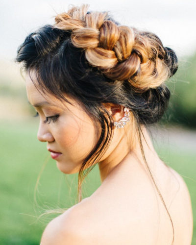 Asian American bride with braid updo bridal hairstyle by Beauty on Location Studio of Denver, Colorado