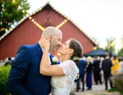 Rustic ranch wedding bride and groom with makeup and hair design by Beauty on Location Studio of San Francisco, CA and Denver, CO