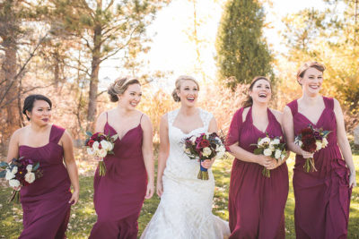 Fall wedding Colorado bride and bridesmaids with makeup and hair design by Beauty on Location Studio of Denver