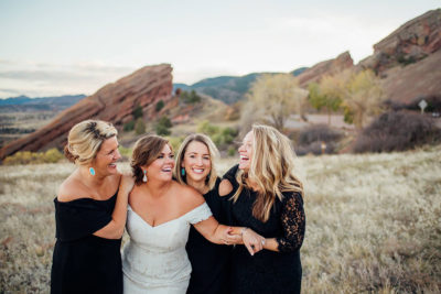 Bride and her bridesmaids at Red Rocks with makeup and hair design by Beauty on Location Studio of Denver, Colorado