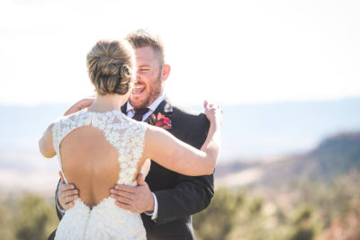Colorado bride and her groom with updo hair design by Beauty on Location Studio of Denver