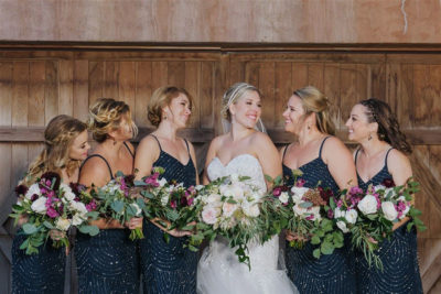 Colorado bride and her bridesmaids with makeup and hair design by Beauty on Location Studio of Denver