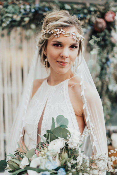 Boho bride with makeup and hair design by Beauty on Location Studio of Denver, Colorado