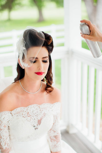 Colorado bride with retro 1940s makeup and updo hairstyle by Beauty on Location Studio of Denver