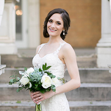 Colorado bride with bridal updo hairstyle by Beauty on Location Studio